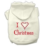 I Heart Christmas Screen Print Pet Hoodies Cream Size XS