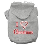 I Heart Christmas Screen Print Pet Hoodies Grey Size XS
