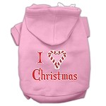 I Heart Christmas Screen Print Pet Hoodies Light Pink Size XS