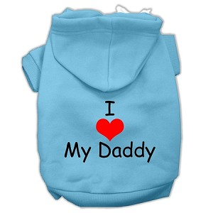 I Love My Daddy Screen Print Pet Hoodies Baby Blue Size XXXL (20)