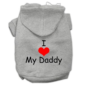 I Love My Daddy Screen Print Pet Hoodies Grey Size Med (12)