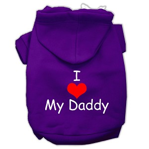 I Love My Daddy Screen Print Pet Hoodies Purple Size Med (12)