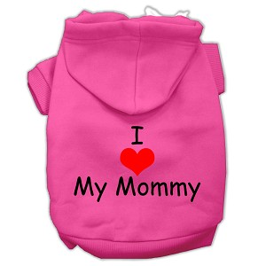 I Love My Mommy Screen Print Pet Hoodies Bright Pink Size XL (16)