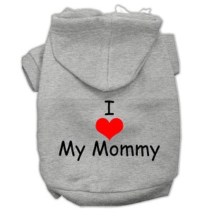 I Love My Mommy Screen Print Pet Hoodies Grey Size XL (16)