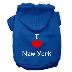 I Love New York Screen Print Pet Hoodies Blue Size XXXL