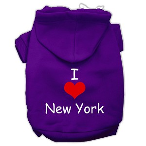 I Love New York Screen Print Pet Hoodies Purple Size Med (12)