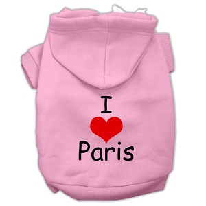 I Love Paris Screen Print Pet Hoodies Light Pink Size Med (12)