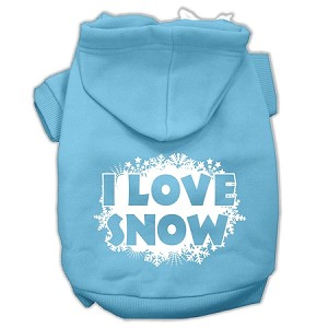 I Love Snow Screenprint Pet Hoodies Baby Blue Size XXXL (20)