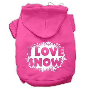 I Love Snow Screenprint Pet Hoodies Bright Pink Size XXL (18)