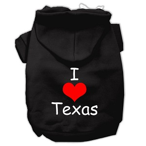 I Love Texas Screen Print Pet Hoodies Black Size Med