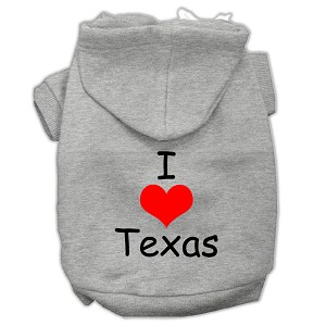 I Love Texas Screen Print Pet Hoodies Grey Size Sm