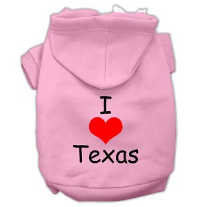 I Love Texas Screen Print Pet Hoodies Light Pink Size Lg (14)
