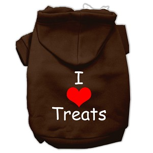 I Love Treats Screen Print Pet Hoodies Brown Size Lg (14)