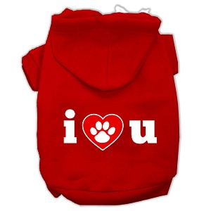 I Love U Screen Print Pet Hoodies Red Size XXL
