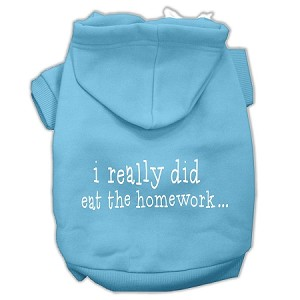 I really did eat the Homework Screen Print Pet Hoodies Baby Blue Size XS (8)