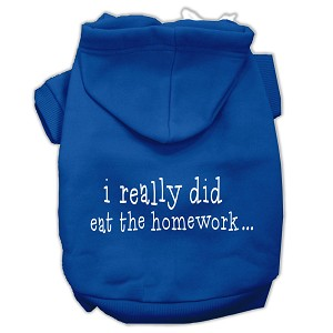 I really did eat the Homework Screen Print Pet Hoodies Blue Size M (12)