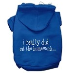 I really did eat the Homework Screen Print Pet Hoodies Blue Size XS (8)