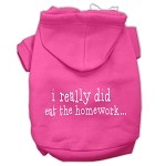 I really did eat the Homework Screen Print Pet Hoodies Bright Pink Size XS (8)