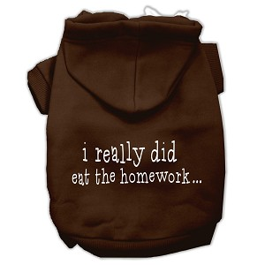 I really did eat the Homework Screen Print Pet Hoodies Brown Size M (12)