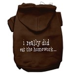 I really did eat the Homework Screen Print Pet Hoodies Brown Size XS (8)