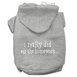 I really did eat the Homework Screen Print Pet Hoodies Grey Size XS (8)