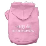 I really did eat the Homework Screen Print Pet Hoodies Light Pink Size XS (8)