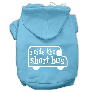 I ride the short bus Screen Print Pet Hoodies Baby Blue Size S (10)