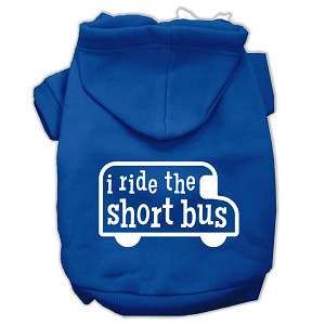 I ride the short bus Screen Print Pet Hoodies Blue Size M (12)
