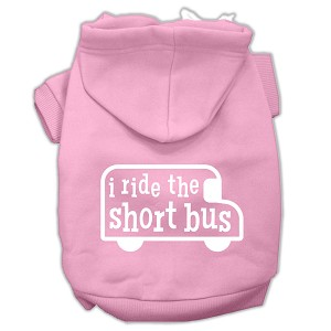 I ride the short bus Screen Print Pet Hoodies Light Pink Size XS (8)