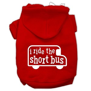 I ride the short bus Screen Print Pet Hoodies Red Size XS (8)