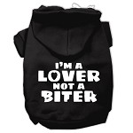 I'm a Lover not a Biter Screen Printed Dog Pet Hoodies Black Size XS (8)
