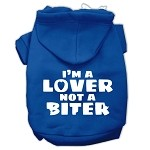I'm a Lover not a Biter Screen Printed Dog Pet Hoodies Blue Size XS (8)