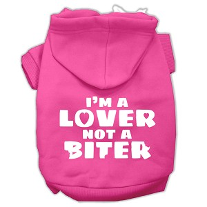I'm a Lover not a Biter Screen Printed Dog Pet Hoodies Bright Pink Size Sm
