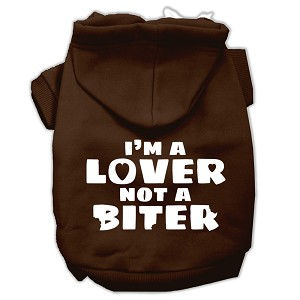 I'm a Lover not a Biter Screen Printed Dog Pet Hoodies Brown Size Sm