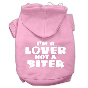 I'm a Lover not a Biter Screen Printed Dog Pet Hoodies Light Pink Size Lg