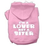 I'm a Lover not a Biter Screen Printed Dog Pet Hoodies Light Pink Size XS (8)