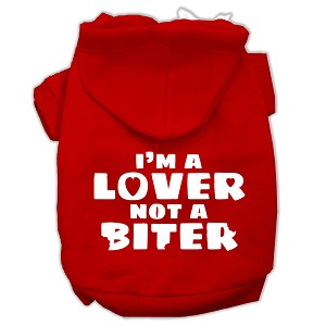 I'm a Lover not a Biter Screen Printed Dog Pet Hoodies Red Size Sm (10)