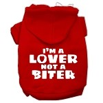 I'm a Lover not a Biter Screen Printed Dog Pet Hoodies Red Size XS (8)