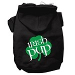 Irish Pup Screen Print Pet Hoodies Black Size XS (8)