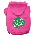 Irish Pup Screen Print Pet Hoodies Bright Pink Size XS (8)