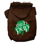 Irish Pup Screen Print Pet Hoodies Brown Size XS (8)