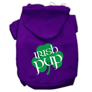 Irish Pup Screen Print Pet Hoodies Purple Size Sm (10)