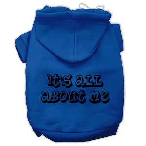 It's All About Me Screen Print Pet Hoodies Blue Size XXL (18)