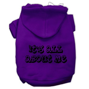 It's All About Me Screen Print Pet Hoodies Purple Size Lg