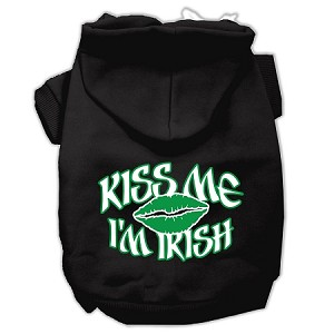 Kiss Me I'm Irish Screen Print Pet Hoodies Black Size XXXL