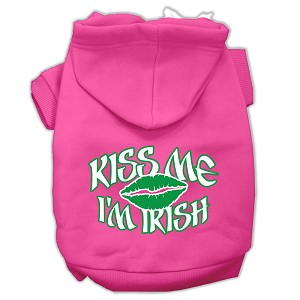 Kiss Me I'm Irish Screen Print Pet Hoodies Bright Pink Size Sm