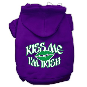 Kiss Me I'm Irish Screen Print Pet Hoodies Purple Size Med