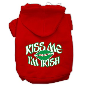 Kiss Me I'm Irish Screen Print Pet Hoodies Red Size Med (12)