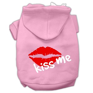Kiss Me Screen Print Pet Hoodies Light Pink Size Med (12)