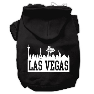 Las Vegas Skyline Screen Print Pet Hoodies Black Size Lg (14)